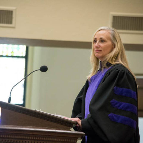 Photo of Associate Professor of Law Liz Fraley Speaking at Baylor Law's Commencement, Fall 2018